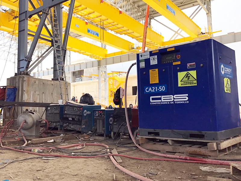 Compresor de tornillo en la construcción